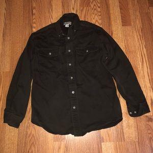 Brown Carhartt Button Up Long Sleeve Shirt Size SM
